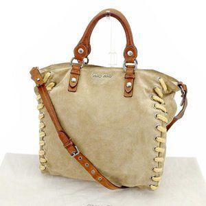 miumiu Shoulder bag Beige Brown Woman unisex Authentic Used
